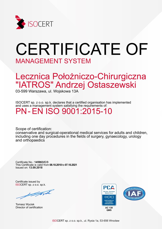 Lecznica Położniczo - Chirurgiczna IATROS Andrzej Ostaszewski - certyfikat ISO 9001