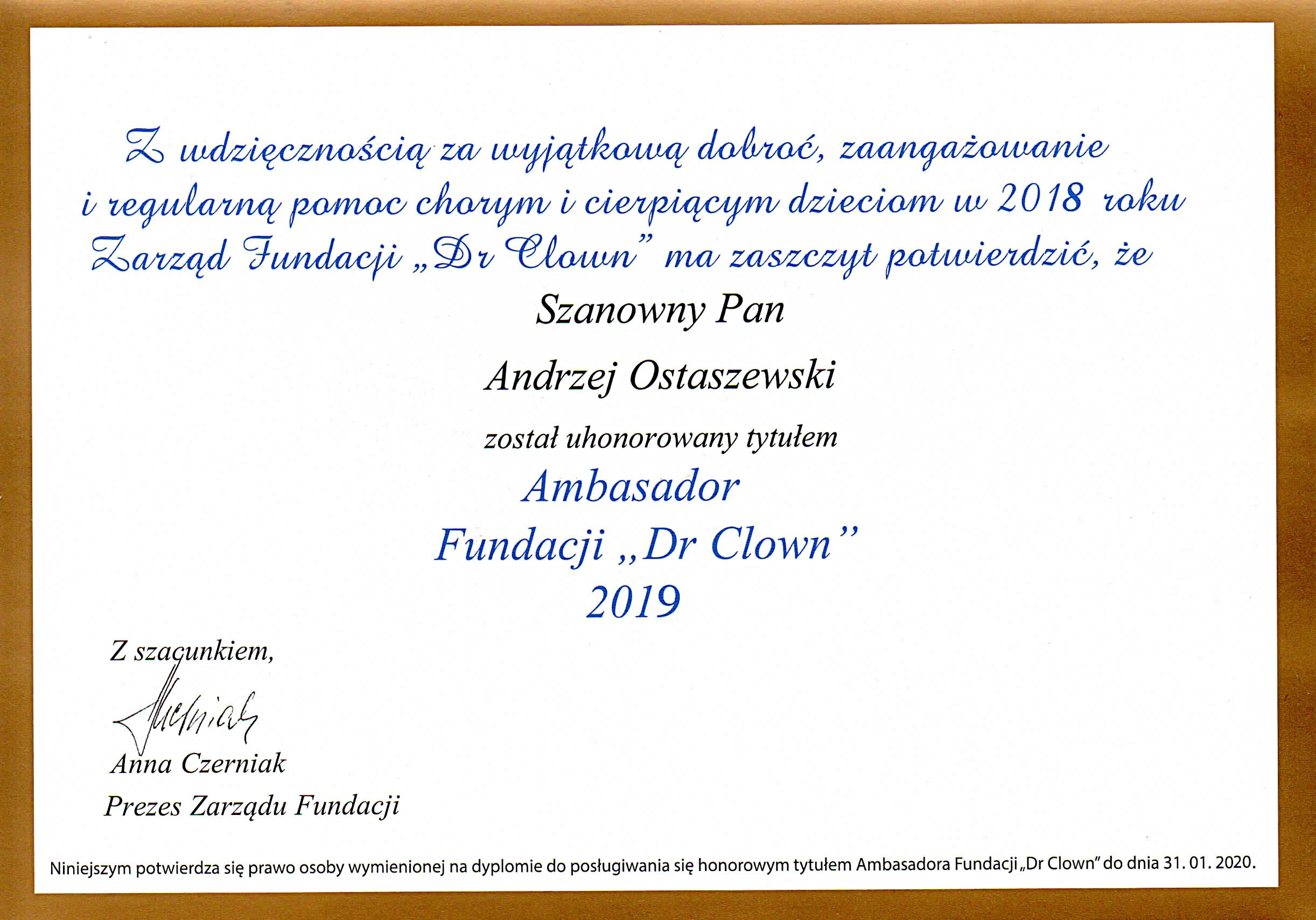 """Dr Andrzej Ostaszewski ponownie Ambasadorem Fundacji """"Dr Clown"""""""